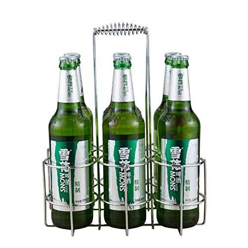 WLD Wijnglas Rek Bier Rek Drager Bier Fles Houder Organizer Afstandsbediening Bierkrat/Carrier Metaal Vervoer Frame voor 6 Bier blikjes Goede Helper in De Keuken Zilver Wijnrekken Gratis Stand Thickened style ZILVER