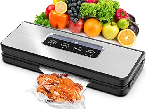 Vacuum Sealer Machine, Toyuugo Automatic Vacuum Air Sealing System Food Sealer with Dry & Moist Food Modes,Sous Vide,Intelligent LED Indicator Lights, Starter Kit of Bags & Hose for Food Preservation