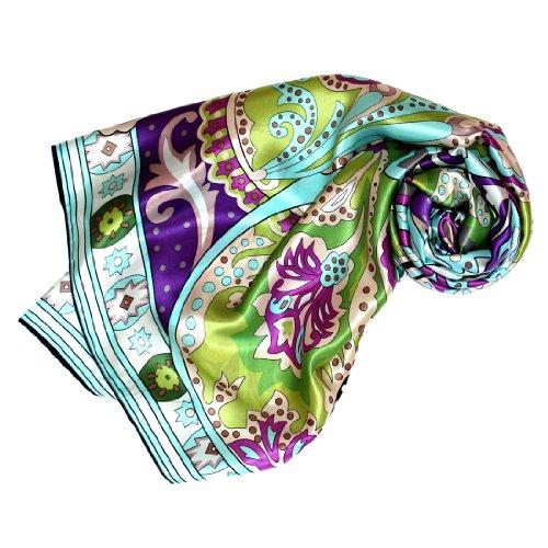 Lorenzo Cana Luxus Frauen Seidentuch aufwändig bedruckt Tuch 100% Seide 110 x 110 cm harmonische Farben Damentuch Schaltuch