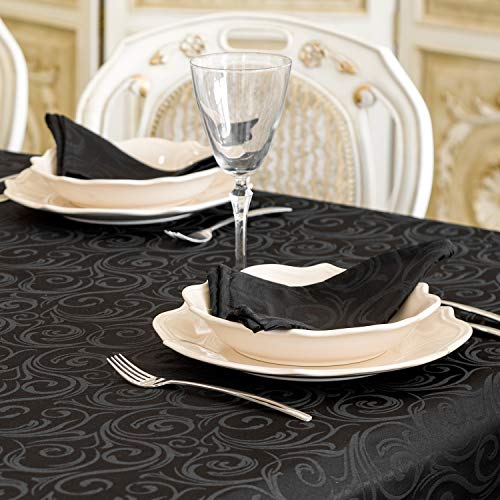 "BgEurope - Mantel, color negro, poliéster Poliéster. 80 % algodón. algodón, negro, 6 NAPKINS 18 x 18"" (45 x 45cm)"