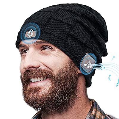 Voice Control Bluetooth Beanie,Bluetooth Hat with AI,Gift for Men,Bluetooth 5.0 Wireless Beanie with Bluetooth Headphones,Birthday, for Men Boys with Mic&HD Stereo Speakers(2.0)