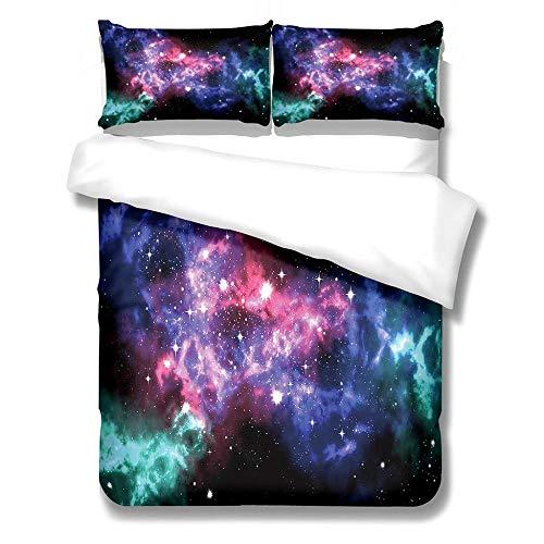 Funda nordica 220x240 cm Cielo Estrellado púrpura de Microfibra Ligera de Microfibra, Funda Edredon con 2 Fundas de Almohada 50x75cm, de fácil Cuidado, antialérgico, Suave y Suave