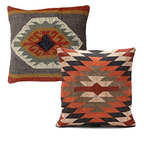 Handicraft Bazarr, juego de 2 fundas de cojín de yute kilim, estilo vintage de 45,7 x 45,7 cm, tejido a mano, cuadrado, Kelim, funda de almohada de Kilim y yute