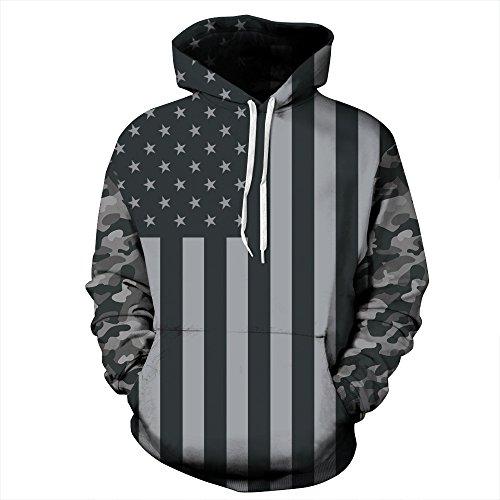 PIZOFF Unisex 3D Digital USA Flag Hoodie Pullover Long Sleeve Hooded Sweatshirts Pockets AM006-06-L