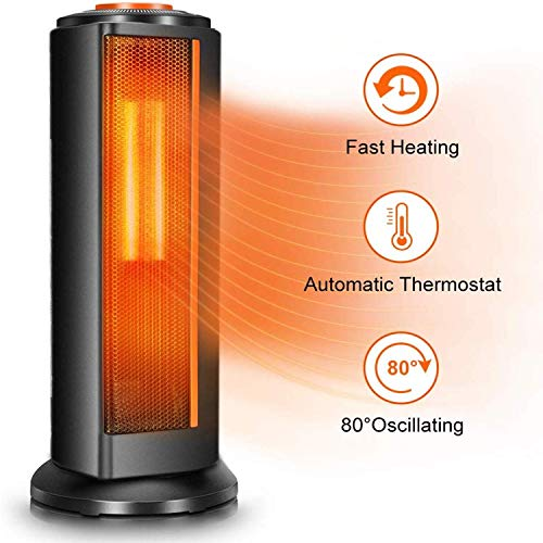 Space Heater Fan for Office - Quiet Portable Oscillating Electric Ceramic Tower Heater w/Thermostat, 1500W Fast Heating, Overheat & Tip-Over Protection, Ideal for Personal & Bedroom & Home Indoor Use Electric Heater Space