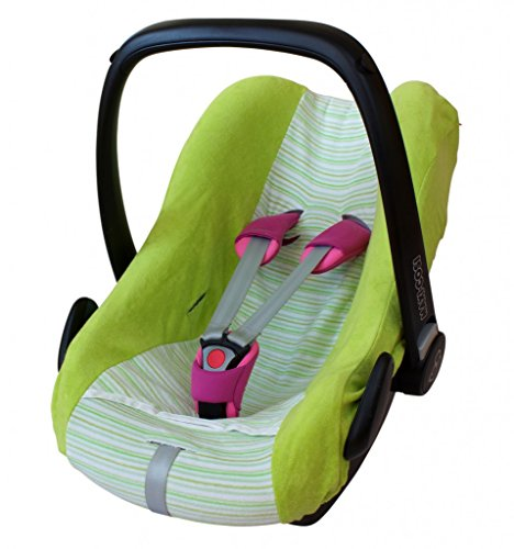 ByBoom® - universele zomerhoes, beschermhoes van badstof met strepen voor babyschaal, autostoel, bijv. Maxi Cosi Cabrio Fix, City, Pebble; Designed in Germany, MADE IN EU, kleur: limoen/strepen-limoen