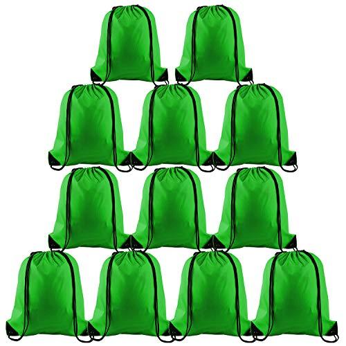 FEPITO 12 Pack Mochila con cordón Bolsas Tote Saco Cinch Bag Mochila de Cuerda a Granel para Viajar en el Gimnasio, Verde Oscuro
