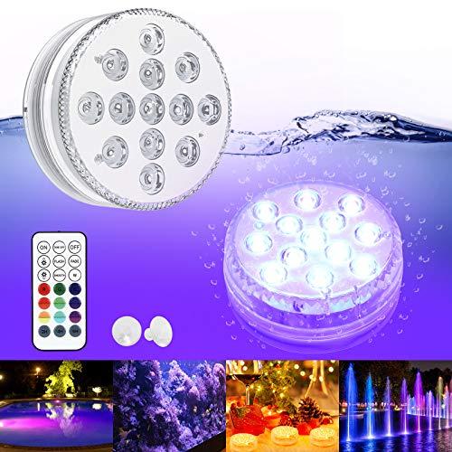 LED Sommergibili GolWof Luci Piscina 13 LEDs 16 Multicolori LED Subacquee Luci Sommergibili Luci Subacquee con Telecomando Decorativa per Interne Esterno Vaso Vasca l'Acquario Partito Nozze Festa
