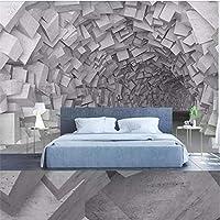 Clhhsy 3Dシンプルな3次元空間幾何学的な建物のリビングルームの背景の壁カスタム大きな壁画緑の壁紙-280X200Cm