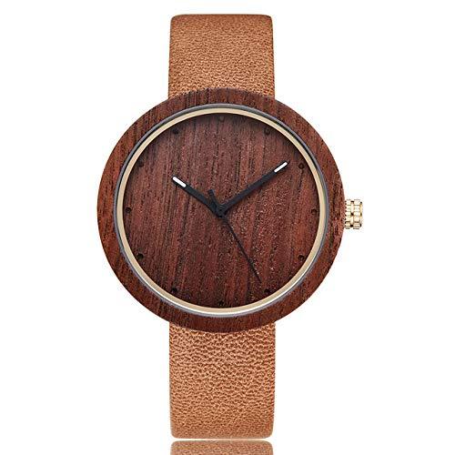 LOPIXUO Elegante Reloj de Madera para Hombres y Mujeres, Reloj de Pulsera de Madera,Correa de CueroLigero, RelojDeportivo de Cuarzo paraHombre, Reloj de Madera Simple, marrón
