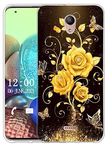 Sunrive Kompatibel mit Wiko U Feel Fab Hülle Silikon, Transparent Handyhülle Schutzhülle Etui Hülle (X Schmetterling und Rose 1)+Gratis Universal Eingabestift MEHRWEG