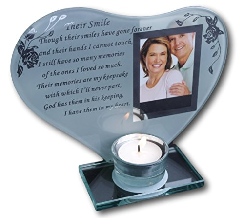 Inspirierendes Gedicht, Kerzen- und Fotohalter, Glas, Gedenktafel