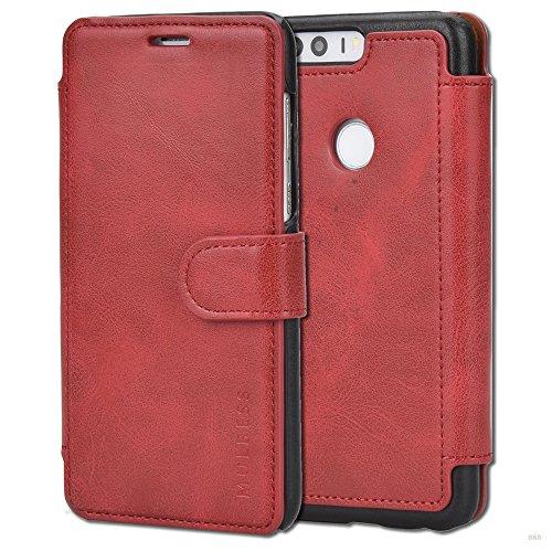 Mulbess Handyhülle für Huawei Honor 8 Hülle Leder, Honor 8 Handy Hüllen, Layered Flip Handytasche Schutzhülle für Huawei Honor 8 Hülle, Wein Rot