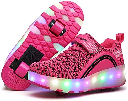 qmj Rollschuhe Schuhe MitRollen Mädchen Jungen RollerSchuhe Rollschuhe Kinder Radschuhe Rollschuhe Sneakers Schuhe Mit Doppelrädern Für Kinder LED-Licht,Pink Double Wheels-6 UK