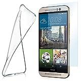 moex Aero Hülle mit Panzerglas für HTC One M9 - Hülle mit Schutzfolie, transparent - Crystal Clear