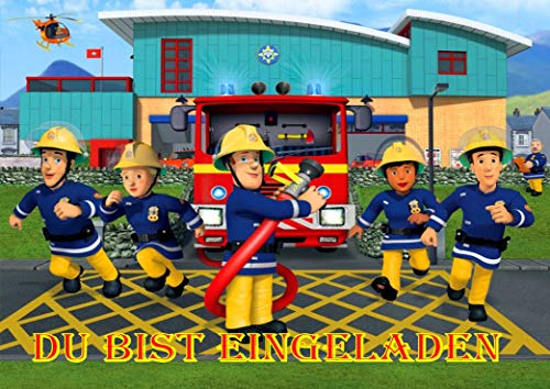 TV-24 Feuerwehrmann Sam Einladungskarten 6er Set inkl. 6 Umschläge Motiv E3