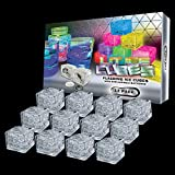 Lit Ice Cubes With Replaceable Batteries 2020 (12 Pack) Premium LED Light Up Ice Cubes for Drinks - 8 Color Changing Light Settings & On/Off Switch By LIT NOVELTIES
