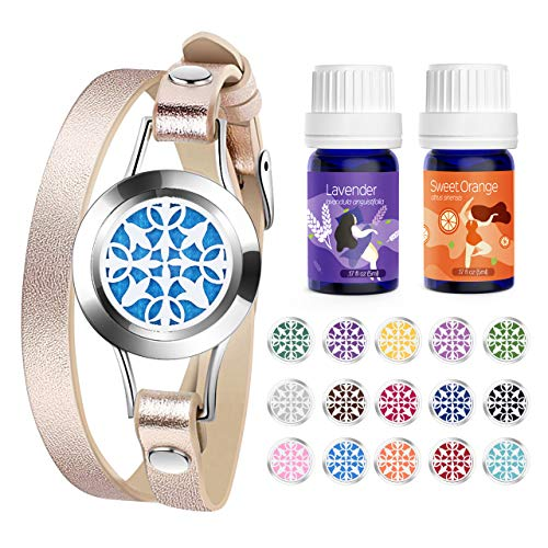 Homasy Essential Oil Diffuser Bracelet, Aromatherapy Bracelet Set with 2 bottles Essential Oils, Pure Sweet Orange and Lavender Oils, Stainless Steel, Leather Band, with 15 color Cotton Pads, Blue