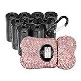 SAVORI - Dispensador de bolsas de basura con dispensador y diamantes de imitación para perro con clip de mosquetón de metal para mascotas, incluye 10 rollos de 150 bolsas