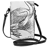 Women Small Cell Phone Purse Crossbody,Engraved Illustration Of A Pelican Bird Zoology Theme Nature Avian Animal