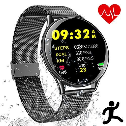 Smartwatch Sport Uhr Fitness Tracker - IP68 Wasserdicht Bracelet Touchscreen mit Schrittzähler Schlafanalyse Kamera Musik Knopf, Anruf SMS Facebook Vibration für Herren Damen Kompatible Android IOS