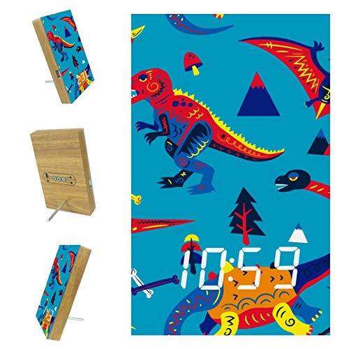 nakw88 Reloj despertador digital con diseño de dinosaurio, color azul