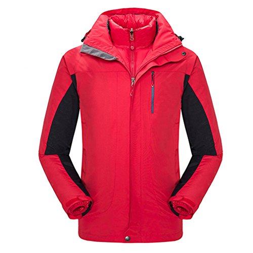 CIKRILAN Homme 3 en 1 Coupe Vent Imperméable Respirant Manteau Outdoor Sport Veste de Ski randonnée avec Veste Coton rembourré (XXX-Large, Noir)