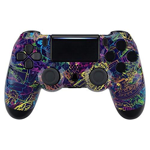 eXtremeRate Hülle für PS4 Controller,Gehäuse Case Hülle Glänzende Schale Ersatzteile Set für Playstation 4 PS4 Controller JDM-040 JDM-050 JDM-055(Neon Roman)