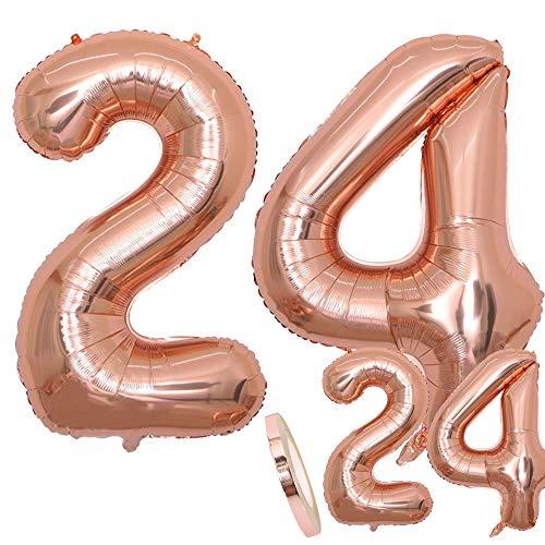 """zooting Luftballons Zahl 24 Geburtstag XXL Rose Gold - Riesen Folienballon in 2 Größen 40\"""" & 16\""""   Set XXL 100cm + Mini 40cm Version Geburtstagsdeko   Insgesamt Vier Zahlen   Ideal zum 24. als Deko"""