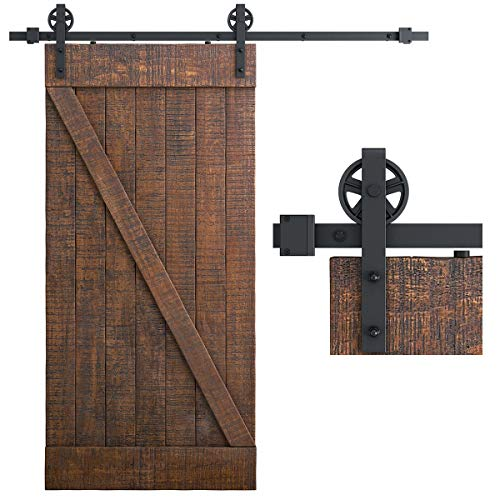 SMARTSTANDARD 6.6 Feet Heavy Duty Sliding Barn Door Hardware Kit, Black, Smoothly and Quietly, Simple and Easy to Install, Fit 36