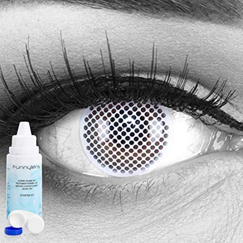 Farbige weisse weiße weisses Gitter Crazy Fun Kontaktlinsen crazy contact lenses White Screen 1 Paar. Mit gratis Linsenbehälter + 60ml Pflegemittel