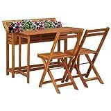 Tavolo in legno da balcone con fioriera + 2 sedie pieghevoli