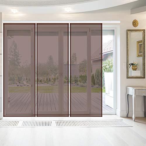 Bestlivings Elena - Panel japonés (3 unidades, 60 x 260 cm), color marrón