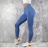 bayrick Pantalon de Yoga Amincissant,Pantalon de Yoga Taille Haute pour Femme-Bluie_M