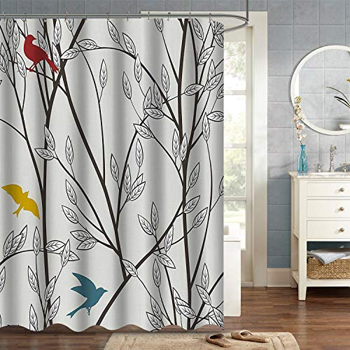 VVA Tree Branches and Birds Fabric Shower Curtain, Nature...