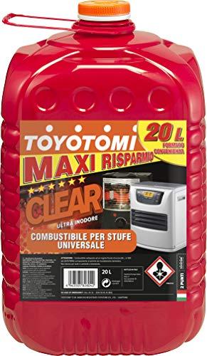 Toyotomi Clear 20 Litri,  Combustibile Universale di alta qualità categoria, 'Ultra - Inodore', adatto a tutte le stufe portatili a stoppino ed elettroniche