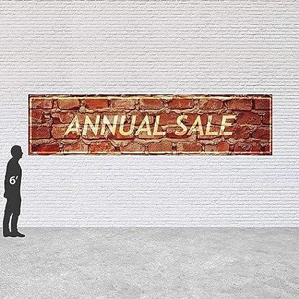 12x3 Ghost Aged Brick Heavy-Duty Outdoor Vinyl Banner Annual Sale CGSignLab