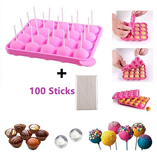 BPA-frei Lollipop Candy Silikon Formen & Ice Cube Tabletts 100 Sticks mufin Kuchen Gumdrop Jelly molds- Rosa