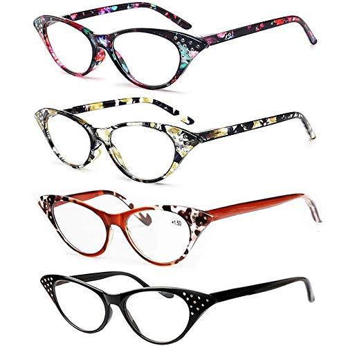 REAVEE 4 Pack Cat Eye Reading Glasses for Women Ladies Fashion Spring Hinge Readers with Rhinestones 3.0