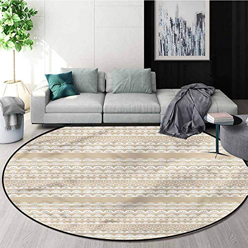 Sale!! RUGSMAT Tan and White Round Area Rug,Antique Borders Learning Carpet Non Skid Nursery Kids Ar...