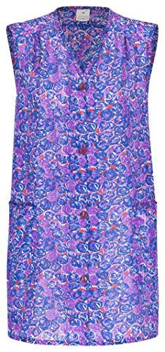 DESERMO Kittelschürze bunt mit Knopfleiste, abwaschbare Garten- und Haushalts Schürze I Dederon Kostüm Kittel DDR Retro Style Gr. 42 (Farbe: Zufall/gemischt)
