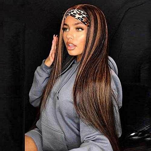 AISI BEAUTY Headband Wigs for Women Straight Highlight Wig with Headband Attached 20' Mix Brown Synthetic Straight Wig for Daily Party Use