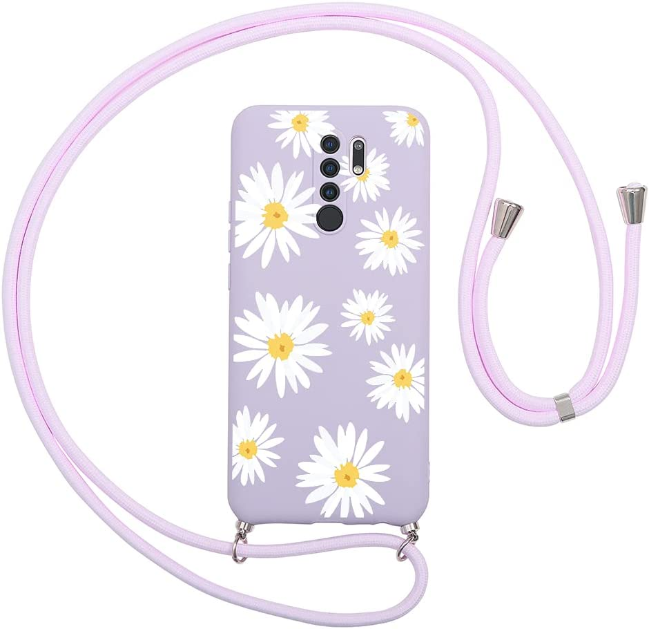 Pnakqil Compatible with Xiaomi Redmi 9A (4G) Case 6.53 inch, Crossbody Adjustable Necklace Lanyard with Fashion Pattern Design Soft Purple TPU Shockproof Protective Case for Redmi 9A 4G, Flower 4