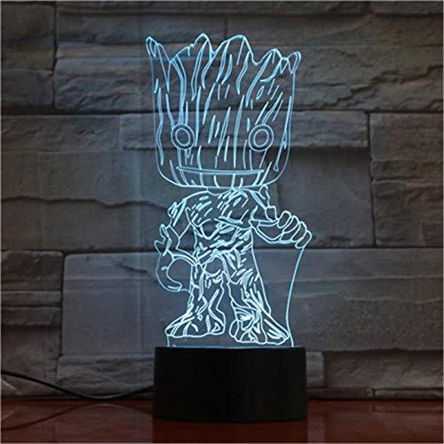 SCNYCUL 3D LED Nachtlicht Süße Alien-Rasse7 colors Glühbirne Weihnachten Familiendekoration Kind Geschenk Spielzeug