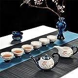 Juego de Té Juego de té de cerámica de Kung Fu juego de té tradicional hecha a mano de alta temperatura de cocción detallada Molido anti-escaldar sistema completo de seguridad y la higiene Servirá un