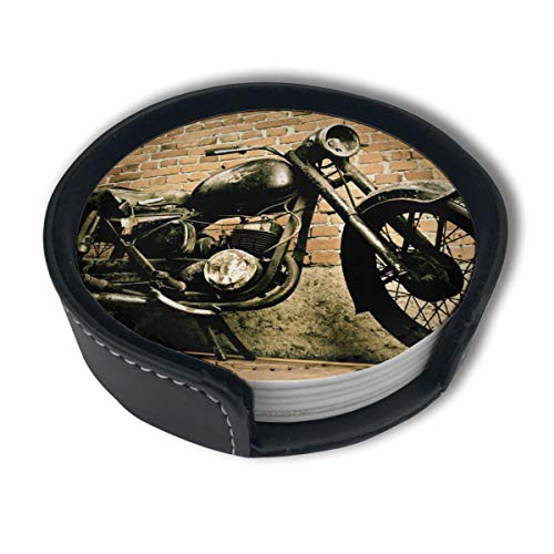 Vintage Retro Motorcycle Leather Coasters Cup Mats for Drinks with Holder,Set of 6