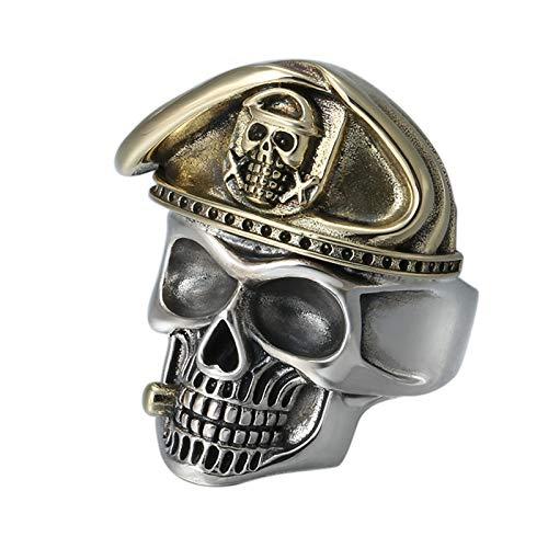HQLCX Anillos, 925 Sterling Silver Skull Head Mens Anillos, Biker con Gorra Vintage Punk Rock Jewelry Gothic Skeleton