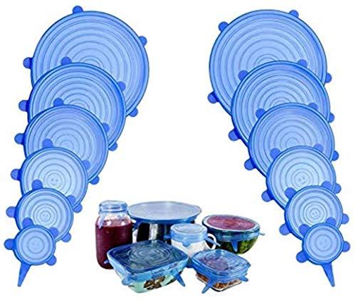 Coperchi in Silicone Estensibili, Conserva Freschi i Cibi, riutilizzabile e ermetico adattabile a diverse dimensioni e forme di contenitori - Set 12 pezzi (blu 12pcs)