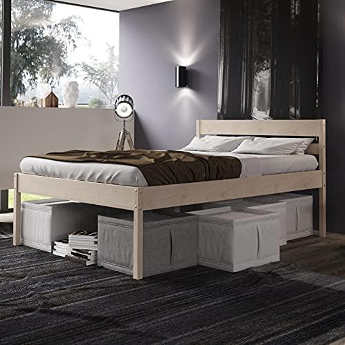 Seniorenbett 180x200 cm Triin Scandi Style mit Rollrost aus hartem FSC Birken Massivholz - über 700 kg - Holzbett 55 cm hoch mit Kopfteil - Stabiles Doppelbett für Senioren - Ehebett