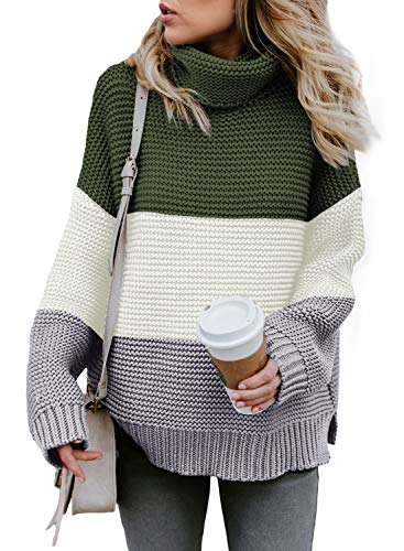 Asvivid Womens Cowl High Neck Knit Sweater Tops Casual Colorblock Oversized Fall Sweater Ladies Fashion 2020 Lightweight Thick Pullover XXL Grey